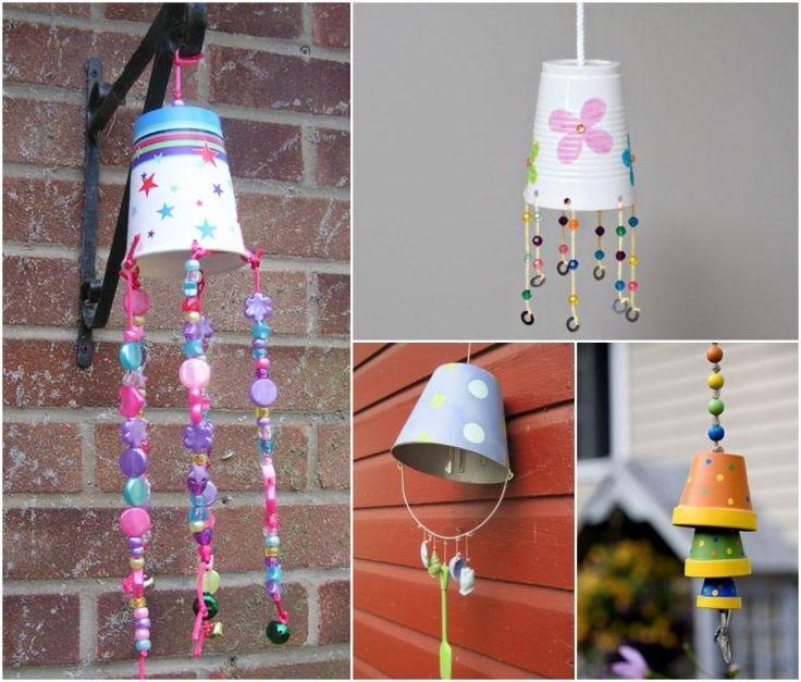 bricolage enfants pas cher et facile: carillon éolien en gobelets ou pots