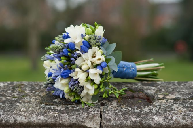 handtied bouquet includes scented freesia, agapanthus, gentiana and hyacinths with cinerea eucalypus. Hand -Tied with blue satin