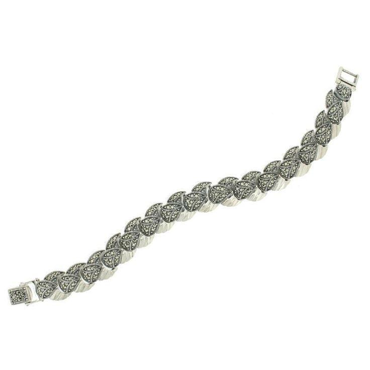 Vintage Antique Style Silver Marcasite Bracelet - 325.00 euro