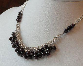 Rojo collar de perlas granate  ametrina violeta y amatista