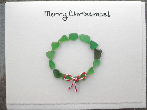 Chrsitmas Wreath Cards Lake Erie Beach Glass by cassieandpete, $16.00