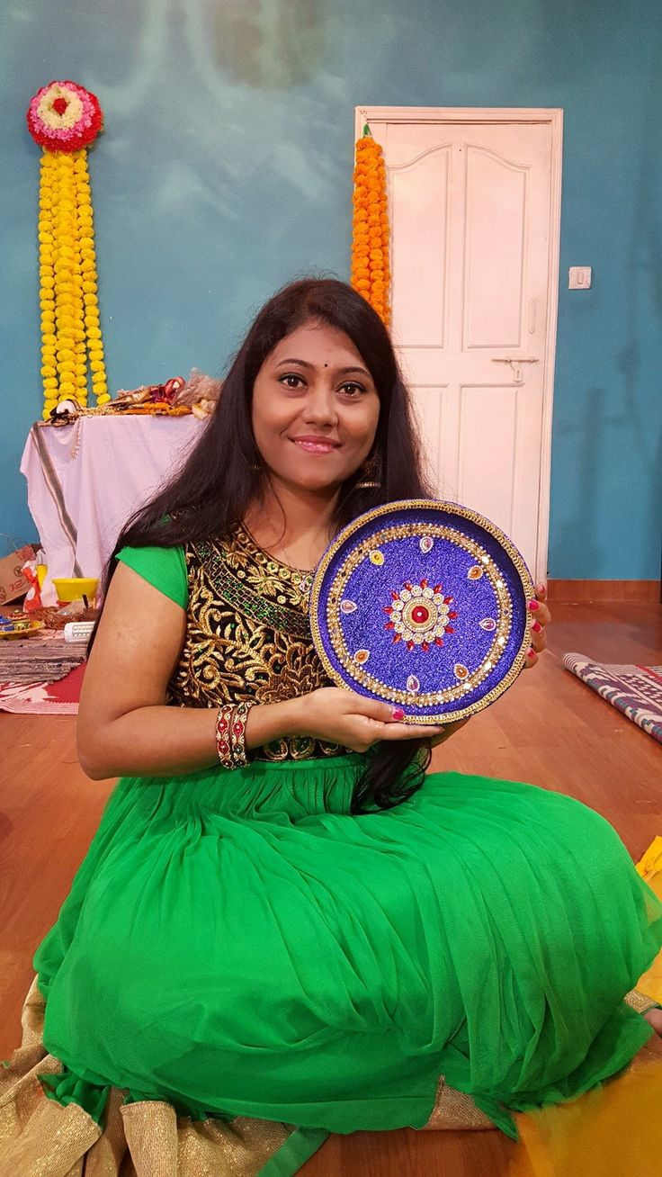 My thaali decoration for sankranthi festival...contact me for more art ideas to decorate thaali