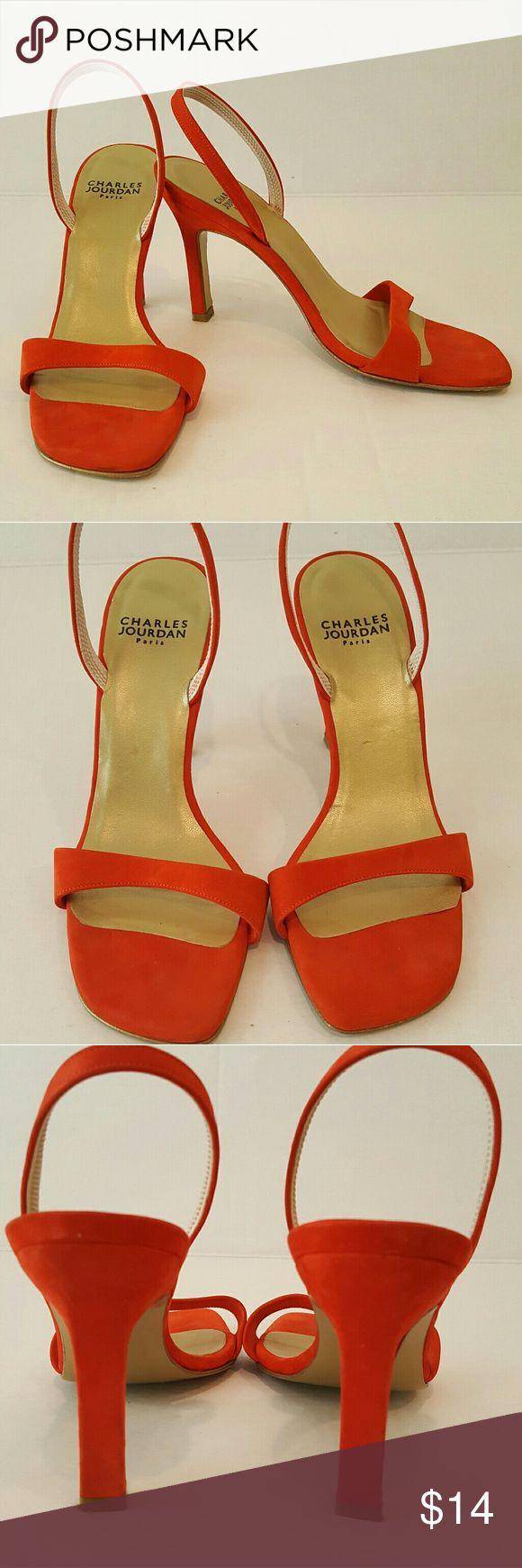 Charles Jourdan Paris Women's Slingback Side 6 Charles Jourdan Paris Women's Orange/Red  Slingback Side 6 Some marking on heel, please see pictures Charles Jourdan Shoes