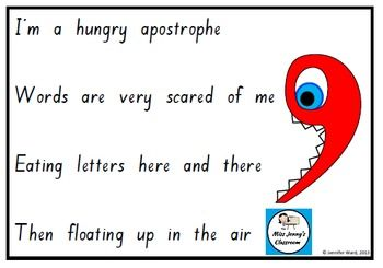 "A cute poem about what contraction ""hungry"" apostrophes are to use in the classroom."