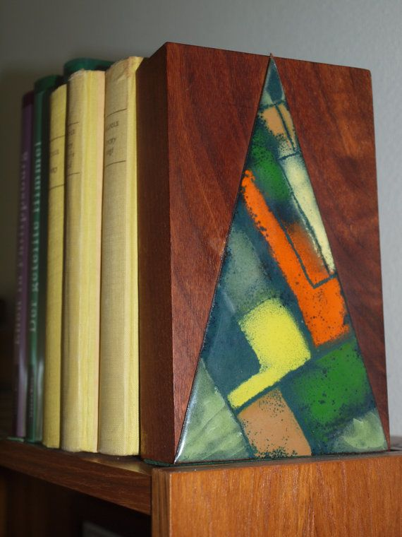MCM Mid century modern bookend enamel on by EleanorsVintage