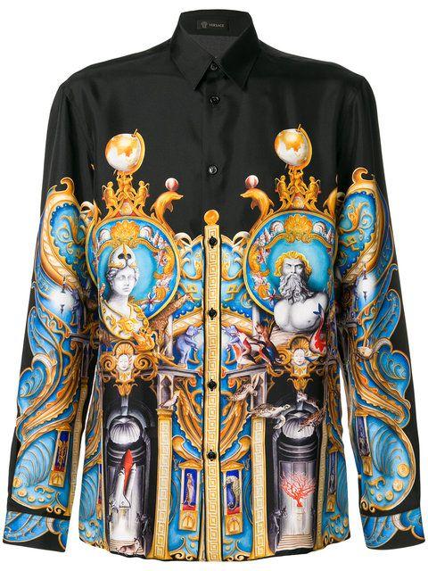 Shop Versace Triptych print shirt.   Art of Style   Pinterest ... 238a7930e27