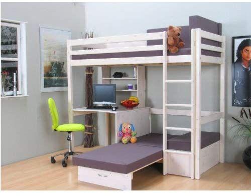 Dynamic24 Thuka Hochbett 90x200 Kiefer Massiv Bett Kinderbett