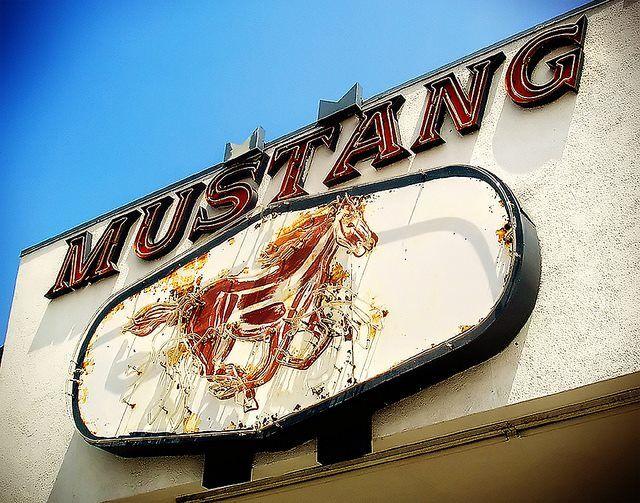 The Mustang liquor Sign has been saved.. located at 21121 Sherman Way Canoga Park, California.