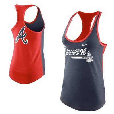Nike Atlanta Braves Women's Tri-Blend Loose Fit Racerback Tank - Navy Blue/Red