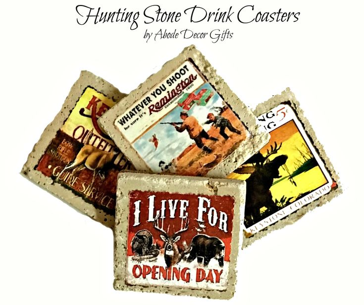 Drink coasters hunters gift vintage hunting stone drink