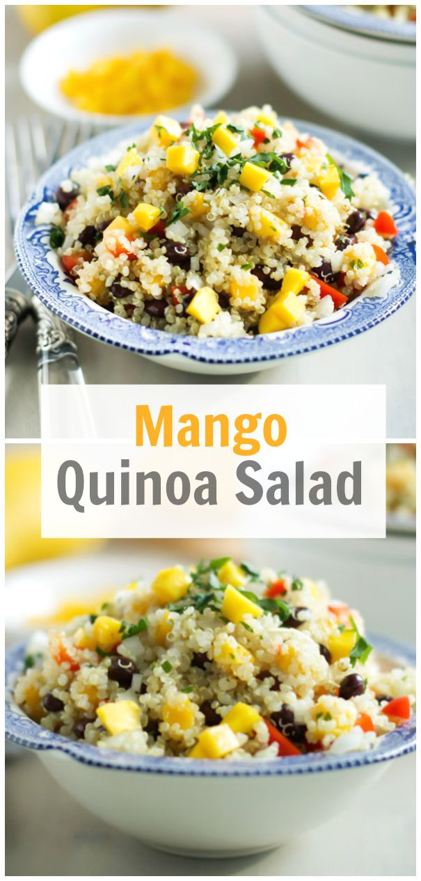 Mango Quinoa Salad Recipe - This vibrant spring mango quinoa salad is filled with colours and textures. It is an easy healthy dish that it is  equally delicious served warm or chilled. primaverakitchen.com