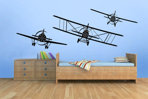 3 Airplanes Vinyl Decal Wall Decal Graphics Choose Color