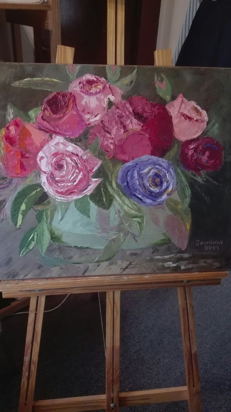 Vase off roses and peonies. Oil painting, artist Jemima.