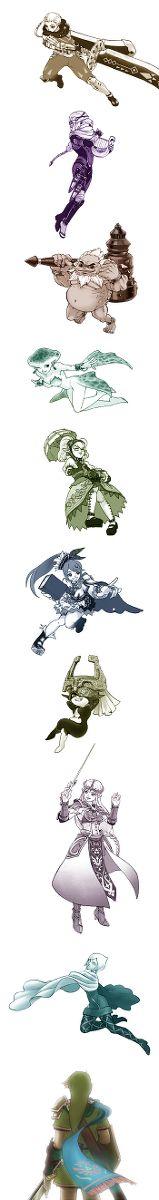 The Legend of Zelda series and Hyrule Warriors | Impa, Sheik, Darunia, Princess Ruto, Agitha, Lana, Midna, Princess Zelda, Fi, and Link / 「ゼルダ無双」/「ちょーこ」の漫画 [pixiv] [06]