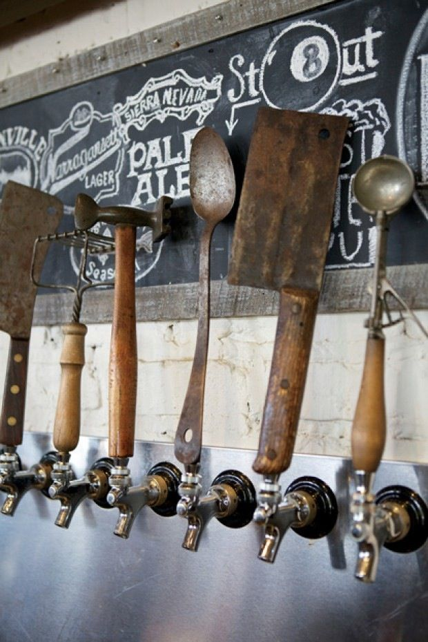 brewery beer taps from upcycled materials. Great chalkboard art to describe beer styles.