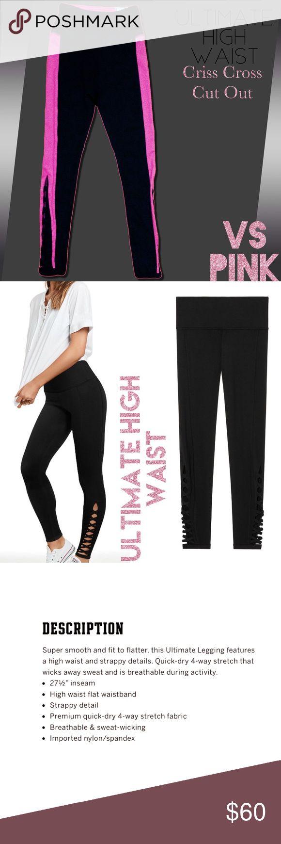 🆕VS PINK Ultimate High Waist Leggings Bright Pink & Black Ultimate High Waist Criss Cross Leggings PINK Victoria's Secret Pants Leggings