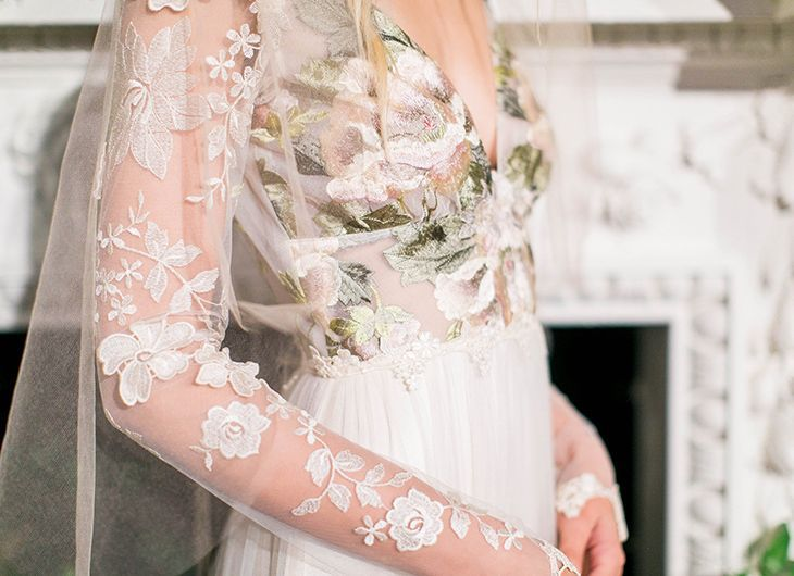 Primavera floral wedding dress with long sleeves by Claire Pettibone Couture