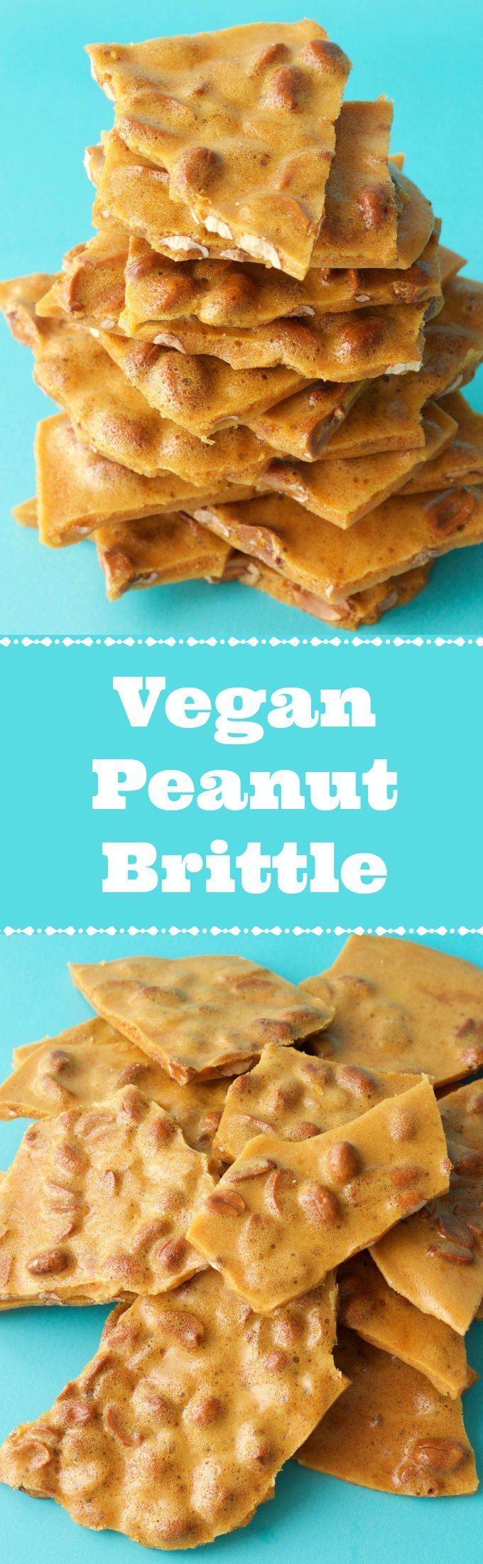 Vegan Peanut Brittle. Deliciously sweet and crunchy. Wonderful as a dessert or snack. Vegan | Vegan Desserts | Gluten-Free | Gluten Free Vegan | Dairy Free | Vegan Recipes | Vegan Candy