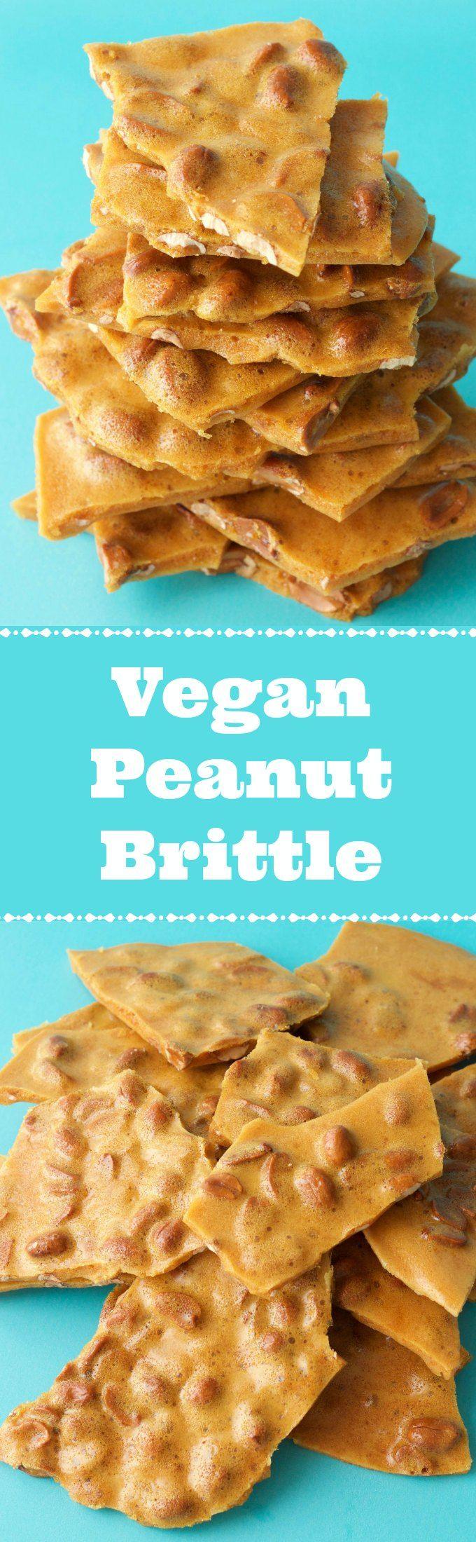 Vegan Peanut Brittle. Deliciously sweet and crunchy. Wonderful as a dessert or snack. Vegan | Vegan Desserts | Gluten-Free | Gluten Free Vegan | Dairy Free | Vegan Recipes | Vegan Candy