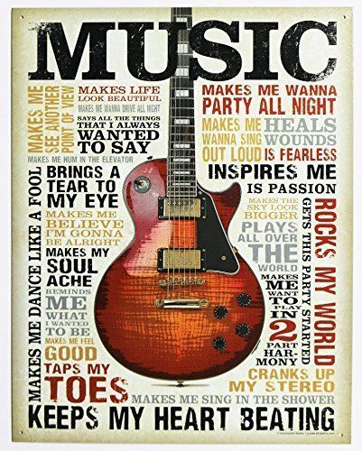 Music Inspires Me Distressed Retro Vintage Tin Sign 13 x 16in #PosterRevolution