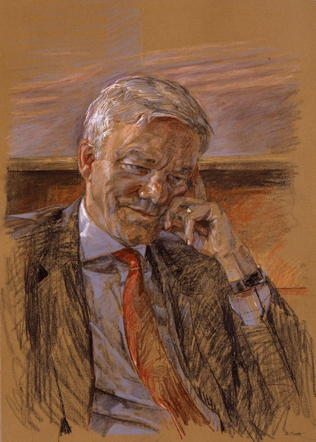 Daphne Todd 'Tim Dutton QC' portrait drawing in chalks and charcoal