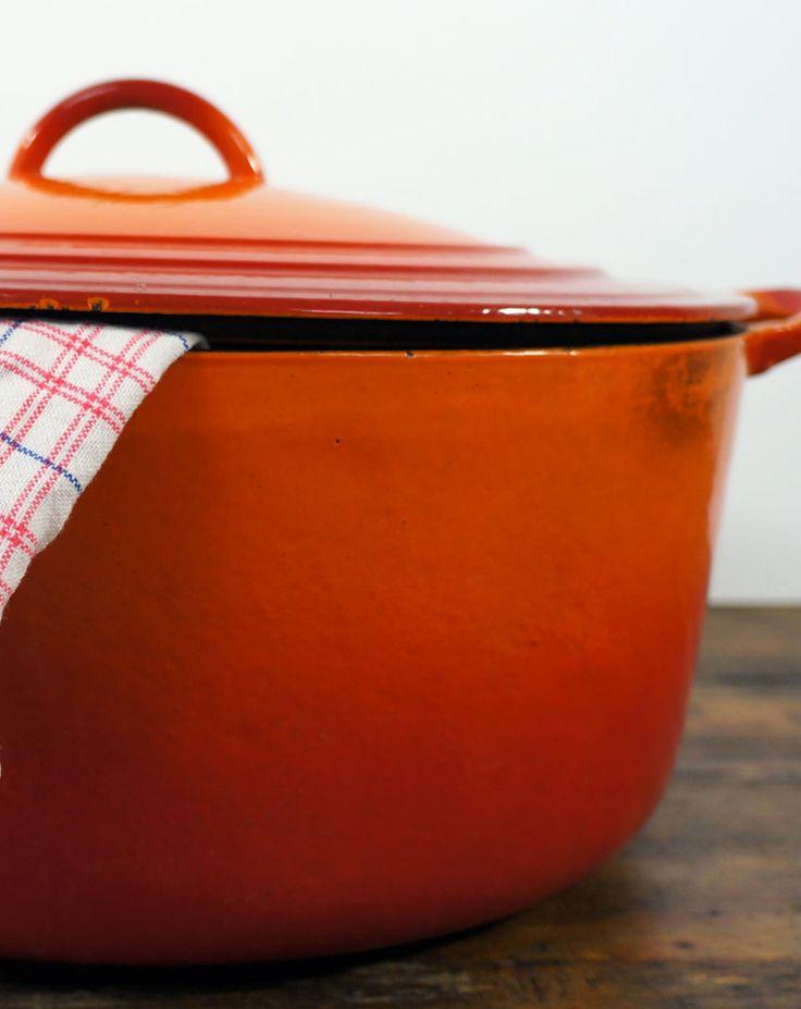 Enorme oranje stoofpan van Le Creuset (gietijzer)
