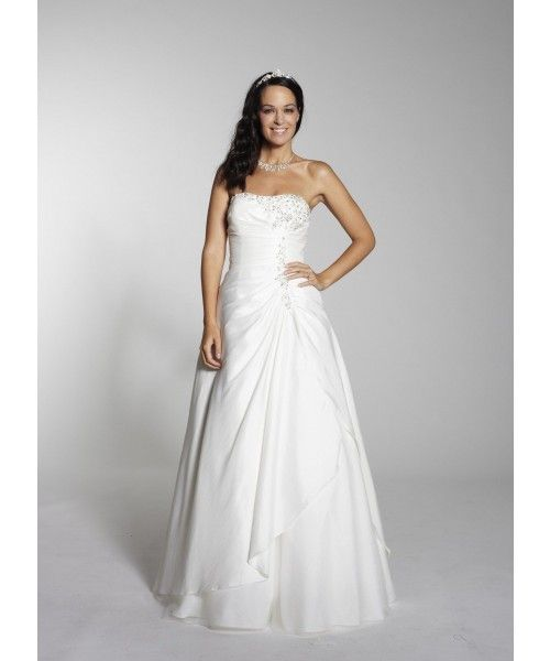 Overlaid And Gathered Amazing A Line Bridal Dress With Strapless Neck Quality Unique Wedding Dresses