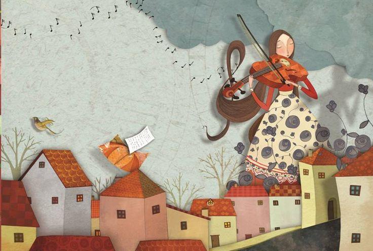 """♫ *´"""")     ¸.•´¸.•*´¨) ¸.•*¨) ♫ ♪  Η Αρασέλη όπως τη ζωγράφισε η Σάντρα Ελευθερίου. Από την εικονογράφηση του βιβλίου για παιδιά της #Ελένης_Γκίκα  #Οι_μουσικές_της_Αρασέλης» που θα κυκλοφορήσει σύντομα. _______ #coming #soon #fairytale #music #araseli #paramythi #ekdoseis #kalendi"""