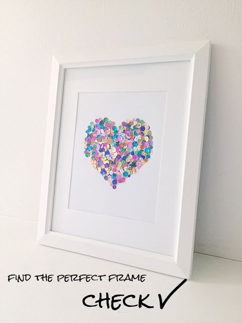 Pearls & Pastries Shop. DIY sequin heart for gallery wall