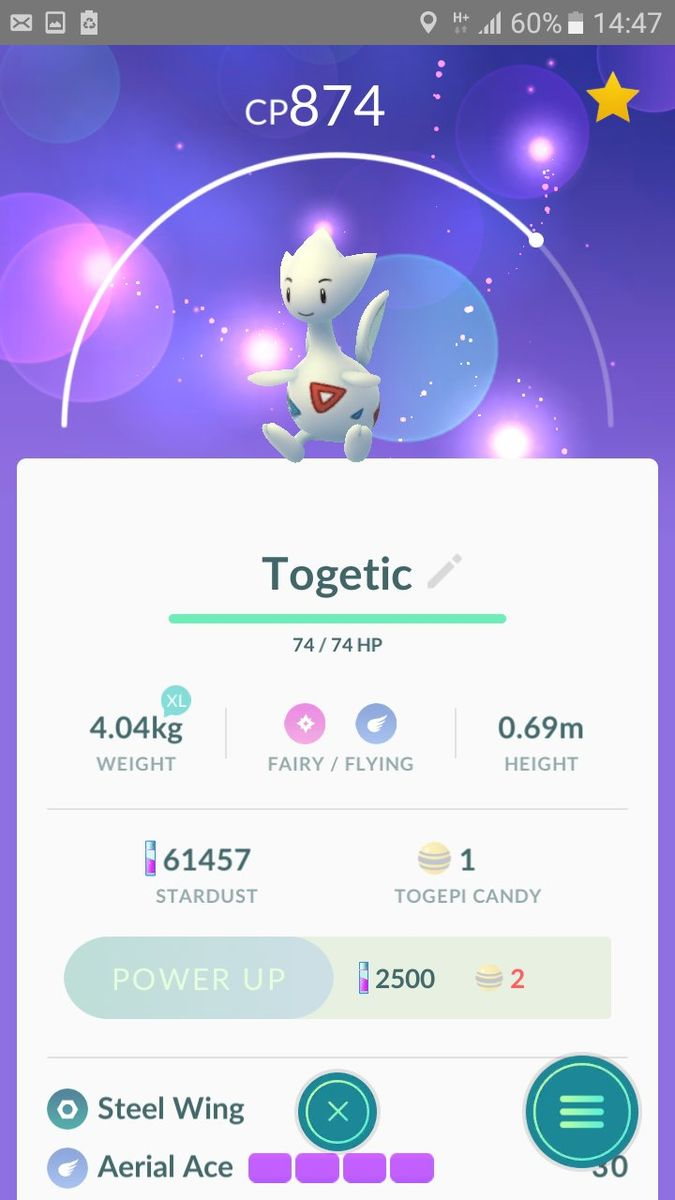 Player hatched Togepi 3x today causing the first Togetic to finally appear! [PHOTO]