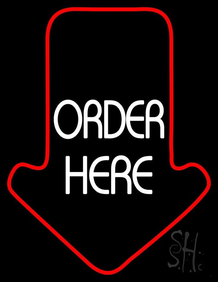 Order Here With Arrow Neon Sign 31 Tall x 24 Wide x 3 Deep, is 100% Handcrafted with Real Glass Tube Neon Sign. !!! Made in USA !!!  Colors on the sign are White and Red. Order Here With Arrow Neon Sign is high impact, eye catching, real glass tube neon sign. This characteristic glow can attract customers like nothing else, virtually burning your identity into the minds of potential and future customers.