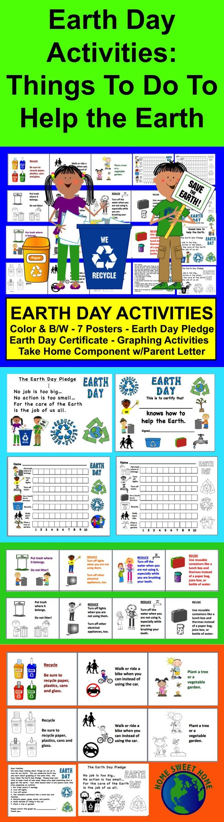 $ Earth Day Take Home Graph, 7 Posters, Earth Day Pledge, Earth Day Certificate and Parent Letter - 22 Pages – Color and black and white versions. Reinforce that home/school connection with a graph with 7 things students can do to help the earth. It can be completed at school or sent home to be completed. Students learn about graphing while they are learning about Earth Day.