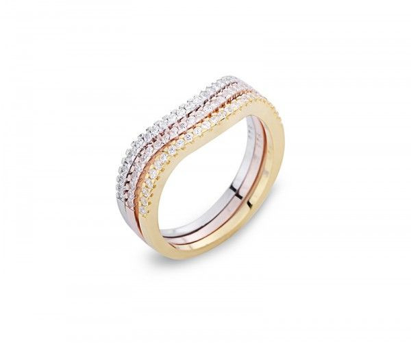 Tricolor 3-in-1 Silberring mit Zirkonia Kristallen / Tricolor 3-in-1 sterling silver ring with zirconia crystals