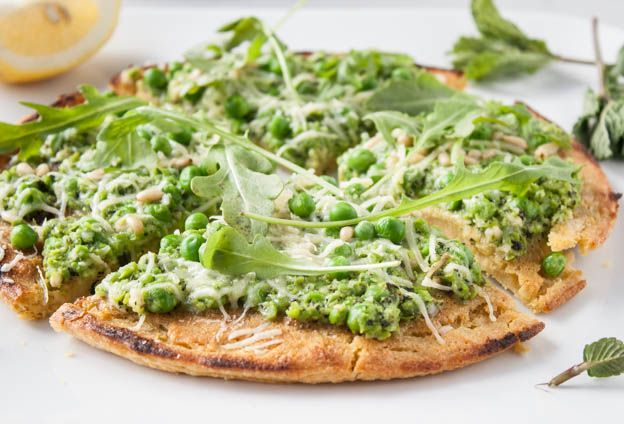 Socca Flatbread with Minted Pea Pesto - Dishing Up the Dirt