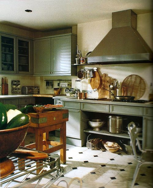 Very cool country kitchen, grey/green paint for cabinets via: kitchensihaveloved.blogspot.f