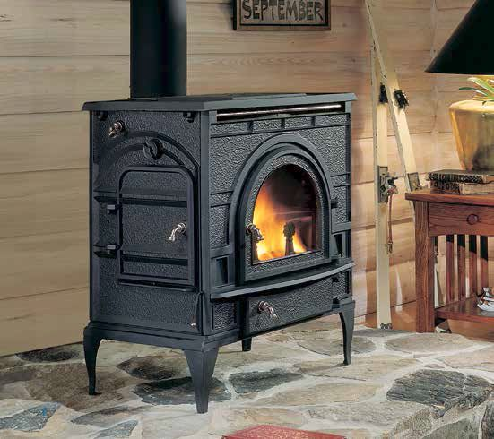 Side loading wood stove fits in the living room - Living room with wood burning stove ...