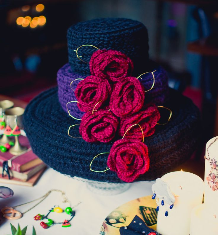 Crocheted, goth inspired Three Teir Wedding cake  Alma De Cuba - Styled Wedding  Shoot  Photo By Rivington Photography