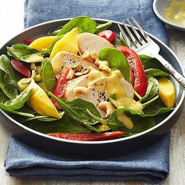 Diabetic Spinach Chicken Salad with Mango Dressing Recipe