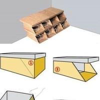 casiers avec boites à chaussures