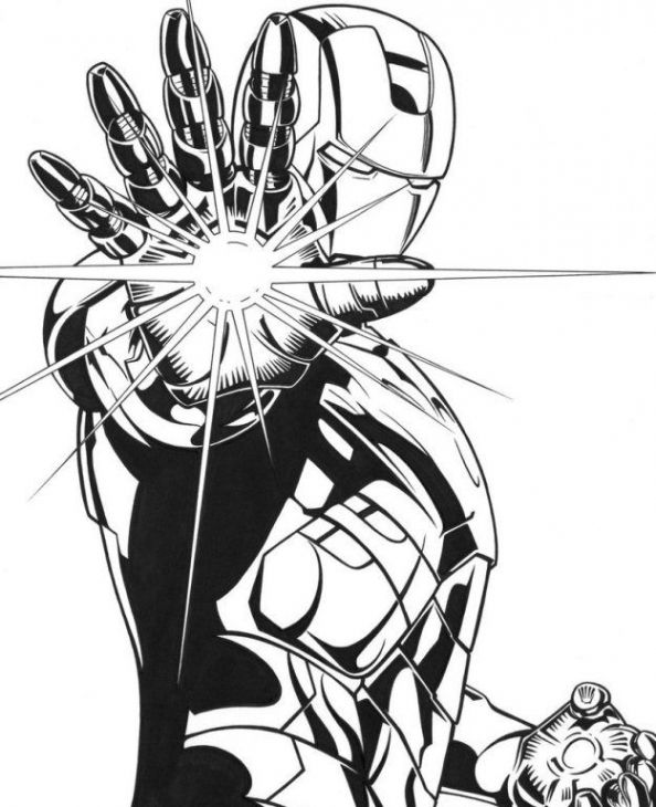 Cool Iron Man Using His Repulsor Coloring Page Free