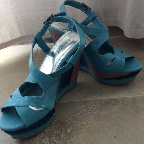 LAST CHANCE size 8 turquoise Sandals Turquoise sandals, platform, heel 5 inches, toes 1 ½ platform.  Never worn Bamboo Shoes Sandals