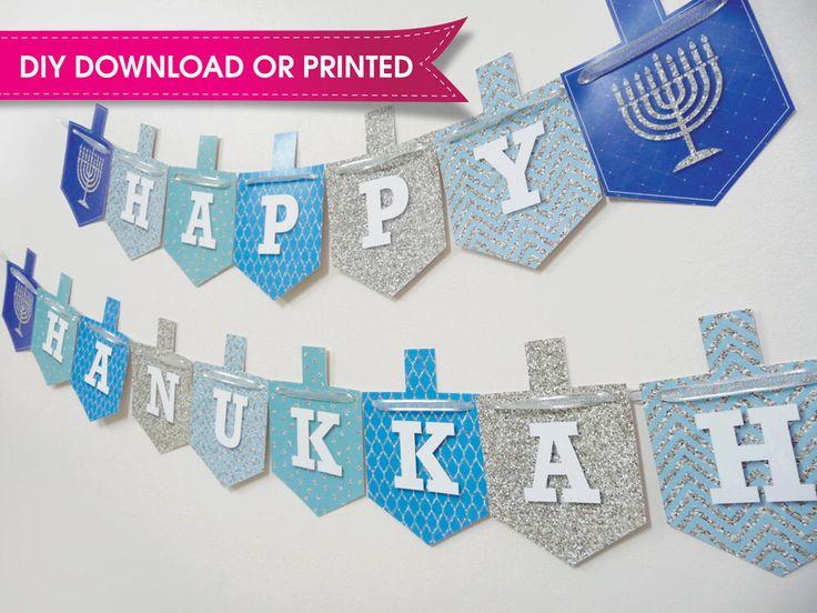 Hanukkah Banner, Hanukkah Bunting, Hanukkah Decor - DIY Download - Printed - Hanukkah Silver Glitter Collection by QuillingJudaica on Etsy https://www.etsy.com/listing/253041845/hanukkah-banner-hanukkah-bunting