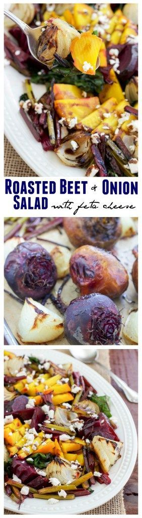 Sweet roasted beet and onion salad is the best side dish for summer! Topped with tangy feta cheese and a rich balsamic drizzle gives it loads of flavor! This salad uses the beet, the stems and the greens!