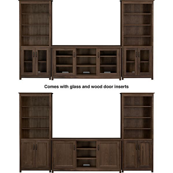 """Ainsworth Walnut 64"""" Media Center with Wood/Glass Doors and 2 Towers in Media Centers 