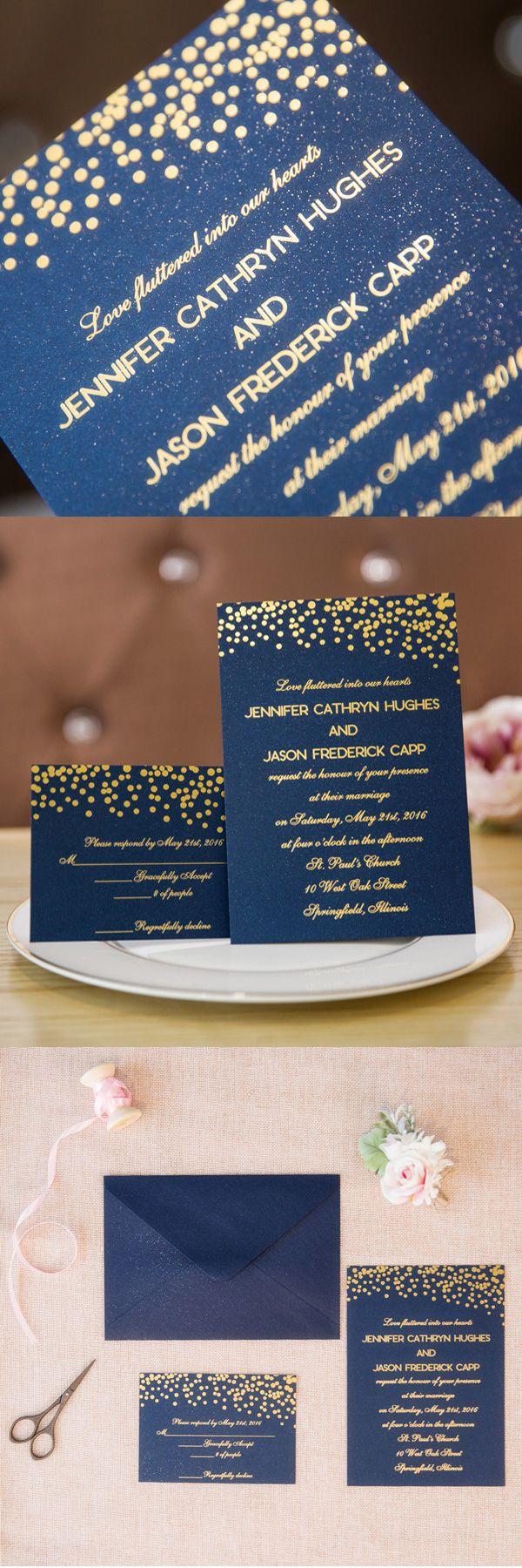 matrimonial resume format%0A foil gold polka dots and navy blue wedding invitation