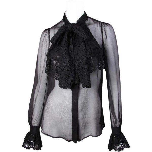 D&G Black Silk/Chiffon Blouse, found on polyvore.com