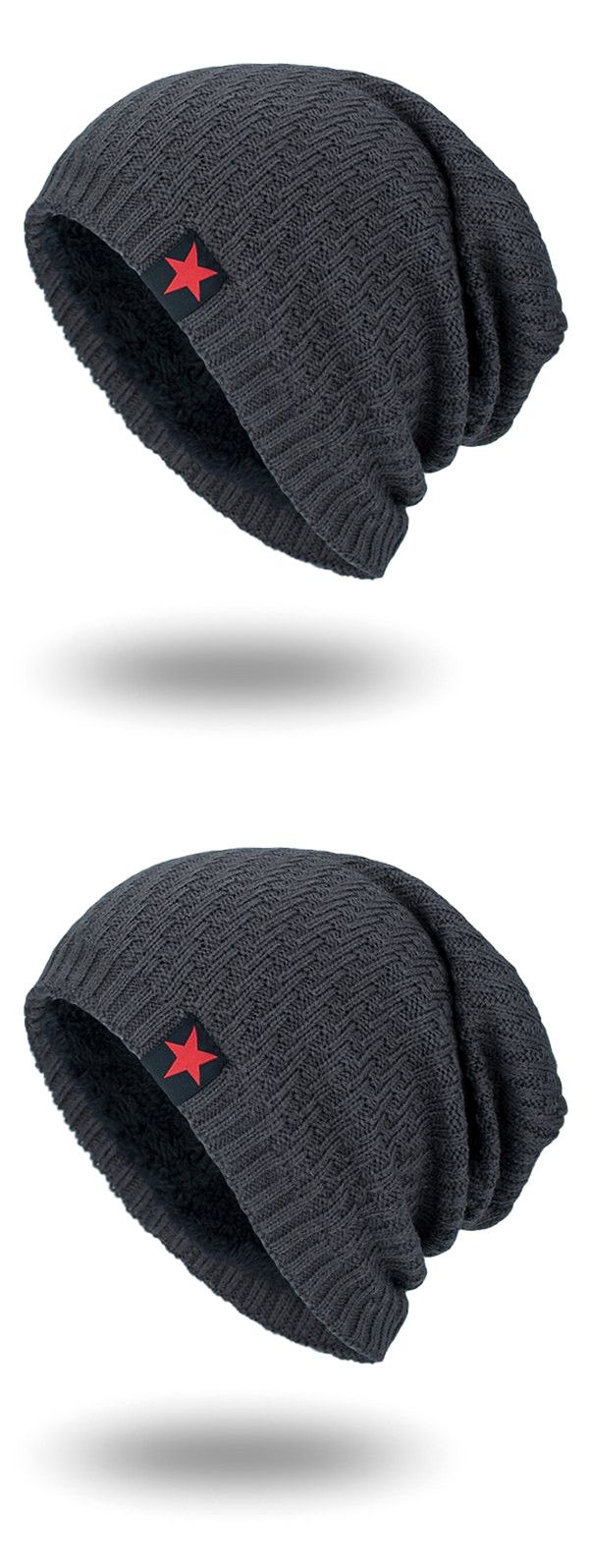 Star Label Embellished Stripy Thicken Knit Hat