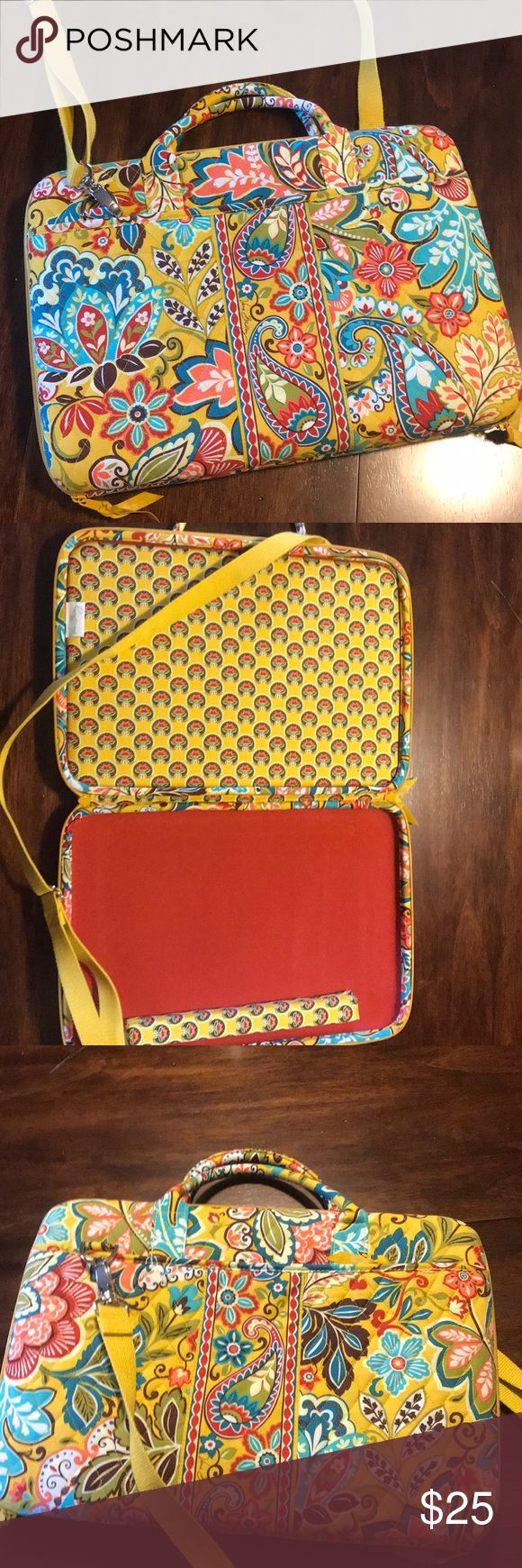 Laptop carry case Brand new beautiful colored Vera Bradley laptop case with strap and removable wrist bar. This item is brand new I took tags off to give this to my daughter but she did not use it. Vera Bradley Bags Laptop Bags