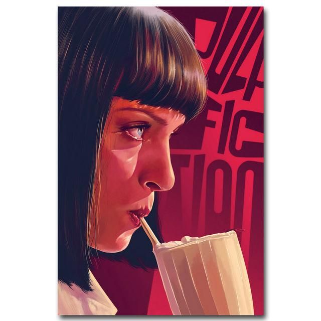 "90's Retro Uma Thurman Pulp Fiction Wall Poster 24""x36"""