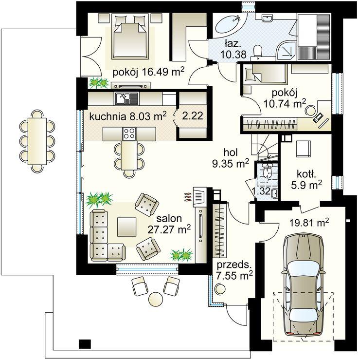 Karino II NF40 projekt - Parter 99.27 m²  + garaż 19.81 m²